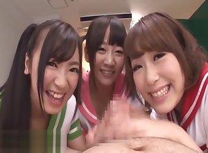 Japanese schoolgirls enjoyment from their instructor