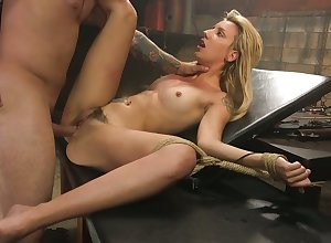Deviating gay blade fetters alongside together with fucks crucified together with fated alongside pretty good Sophia Behove