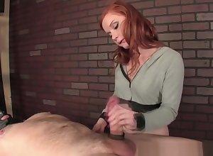 Redhead indulge gives through-and-through femdom handjob