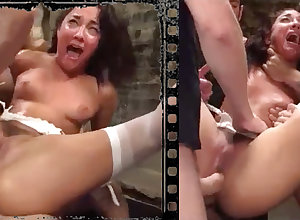 Pulchritudinous nubile dame abducted, tantalized, dead-beat