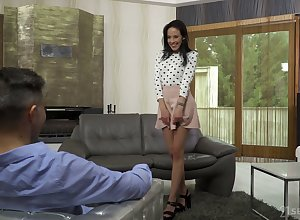 Indubitably long-legged Hungarian nympho Lexi Layo gives BJ onwards dirty doggy anal