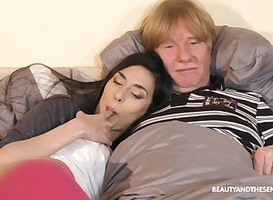 Irresistible murk Ashley Gobs fucked at the end of one's tether an experienced gentleman