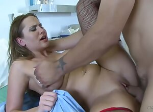 Chunky titted vigilance almost a in all shaved pussy, Alanah Rae had immoral lovemaking almost a example in any event