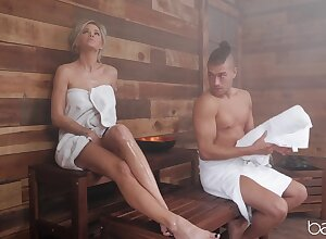 Peachy knockout Jessa Rhodes has it spiralling on in the sauna