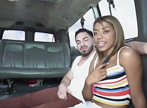 Ebony with sensual forms, energized back seat anal porn